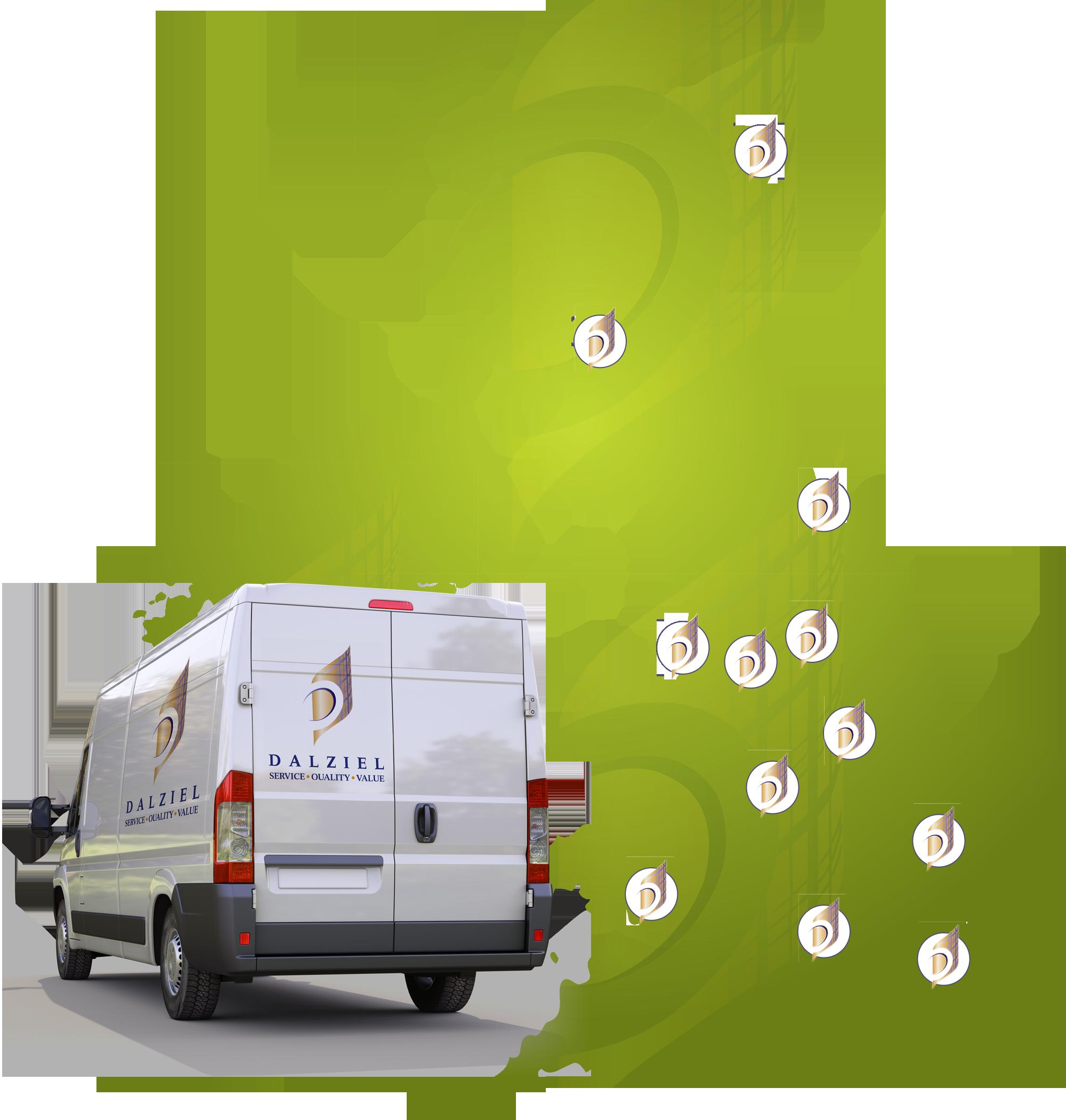 Dalziel UK Map With Van
